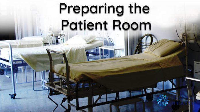 preparing hospital beds for covid-19 coronavirus patients