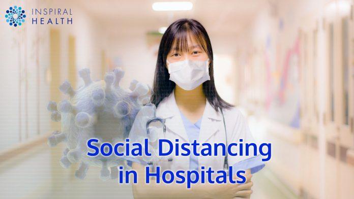 Nurse socially distancing in a hospital